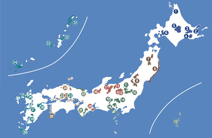 Map of National Parks of Japan